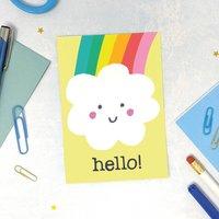 Hello! Rainbow Cloud Postcard