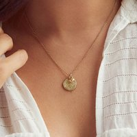 Yellow Gold Fingerprint Stamp Necklace With Heart Charm, Gold