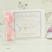 Personalised Bunting Christening Guest Book, Blue/Pink