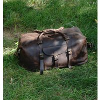 Genuine Leather Holdall With Front Pocket Detail