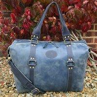 Blue Vintage Leather Holdall, Travel Bag, Weekender