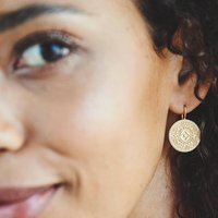 Fearne X Carrie 'I Am Enough' Gold Aztec Coin Earrings, Gold