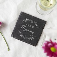 Mummy Gift Personalised Slate Coaster Floral