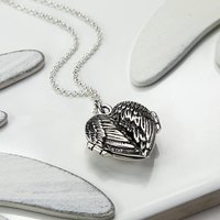 Sterling Silver Love Wings Locket Necklace, Silver