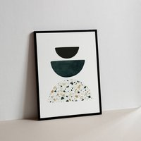 Green And Terrazzo Abstract Shapes 02 Art Print