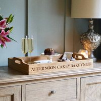 Large Personalised Oak Butlers Trays