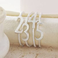 Silver Stacking Number Personalised Rings, Silver