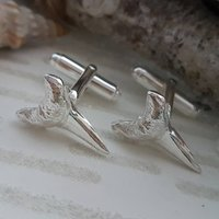 Silver Shark Tooth Cufflinks, Silver