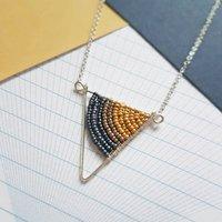 Small Silver Geometric Triangle Necklace, Silver