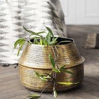 Brass Rattan Effect Planter