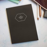 Personalised Cover And Spine White Ink Notebook