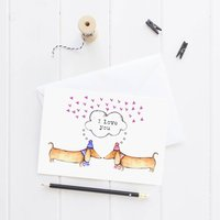 I Love You Sausage Dog Greeting Card