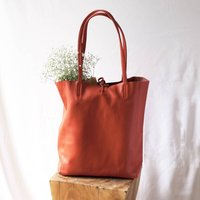 Burnt Orange Soft Leather Tote Shopper