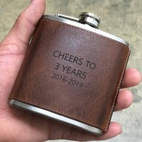 Personalised 3rd Anniversary Leather Hip Flask