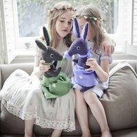 Bunny Rabbit Soft Toy Personalised And Handmade, Lilac/Dark Purple/Purple