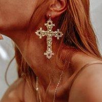 Gabrielle Vintage Baroque Cross Earrings