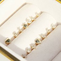 14ct Gold And Diamond Single Stud Earrings, Gold