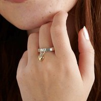 Sweetheart Silver And Recycled Gold Heart Charm Ring, Silver