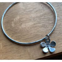Silver Personalised Flower Charm Bangle, Silver