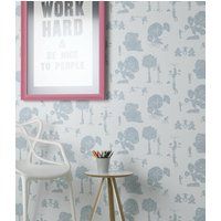 'Brave New World' Robot Wallpaper, Mulberry/White/Pale Blue