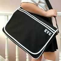 Messenger Retro School Satchel Bag, Black/White