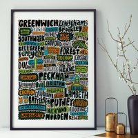 South West London Typographic Print