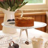Bella Perle Beaded Glass Cake Stand