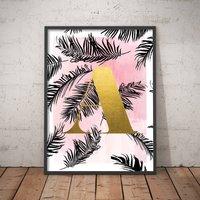 Personalised Palm Leaf Initial Print