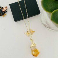 Raw Citrine Pendant With Bee Charms