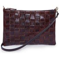 Alex Handwoven Chocolate Cross Body Leather Clutch Bag