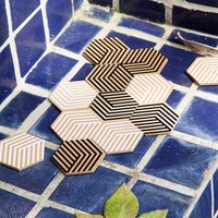 Areaware Table Tile Coasters, Black/White/Green