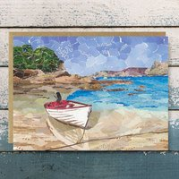 Boat On Scillies Upcycled Collage Greetings Card