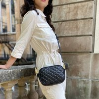 Black Leather Quilted Riviera Handbag