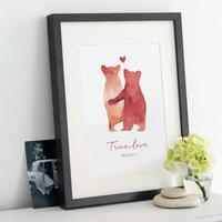 Personalised 'Bear Love' Print, Ruby/Grey