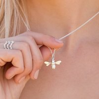 Sterling Silver Personalised Bee Necklace, Silver