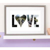 Love Photo Typography, Taupe/White/Brown