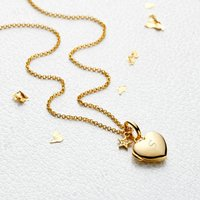 18ct Gold Vermeil Personalised Diamond Heart Locket, Gold