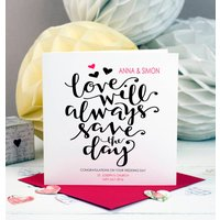 Personalised Wedding Card Love Will Save The Day, Red/Blue