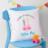 Personalised Easter Rabbit New Baby Cushion