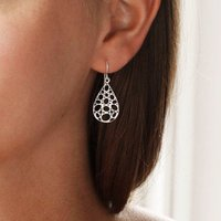 Sterling Silver Geometric Teardrop Earrings, Silver