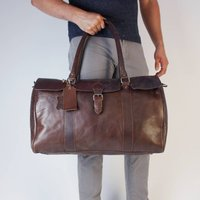 Cavendish Leather Flapover Weekend Bag Conker Brown