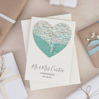 Personalised Map Location Heart Wedding Engagement Card, White/Red/Brown