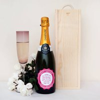 Luxury Champagne With Personalised Pink Birthday Label, Pink