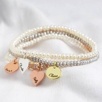 Personalised Handmade Seed Pearl And Charm Bracelet