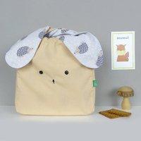 Bunny Rabbit Peach Beige Hedgehog Printed Fabric Bag