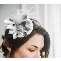 Silver Leather Cocktail Hat Thea