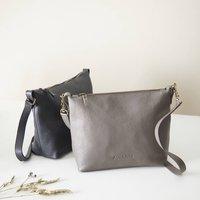 Fair Trade Classic Leather Shoulder Cross Body Handbag, Black/Tan/Teal