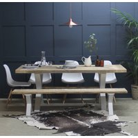 Kings Cross Reclaimed Wood Dining Table With X Frame, Black/White/Grey