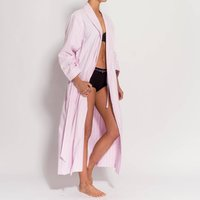Womens Pink And White Striped Two Fold Flannel Robe