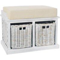 White Wash Rattan Twin Basket Storage Bench